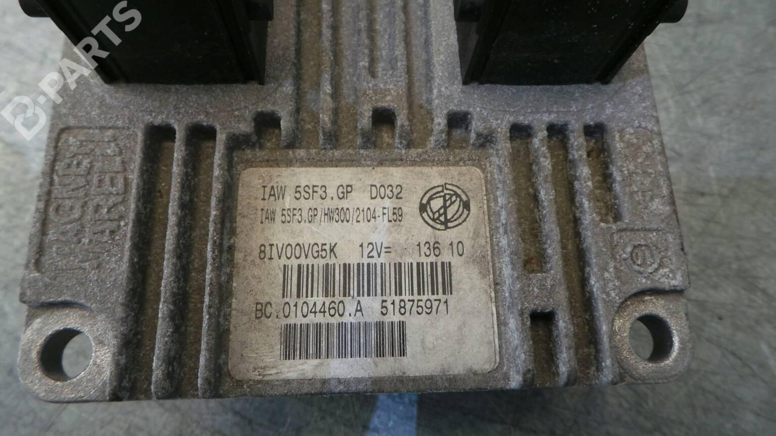 Engine Control Unit Ecu Fiat Punto Evo 199 14 60700 Fuse Box 51875971 145 Doors
