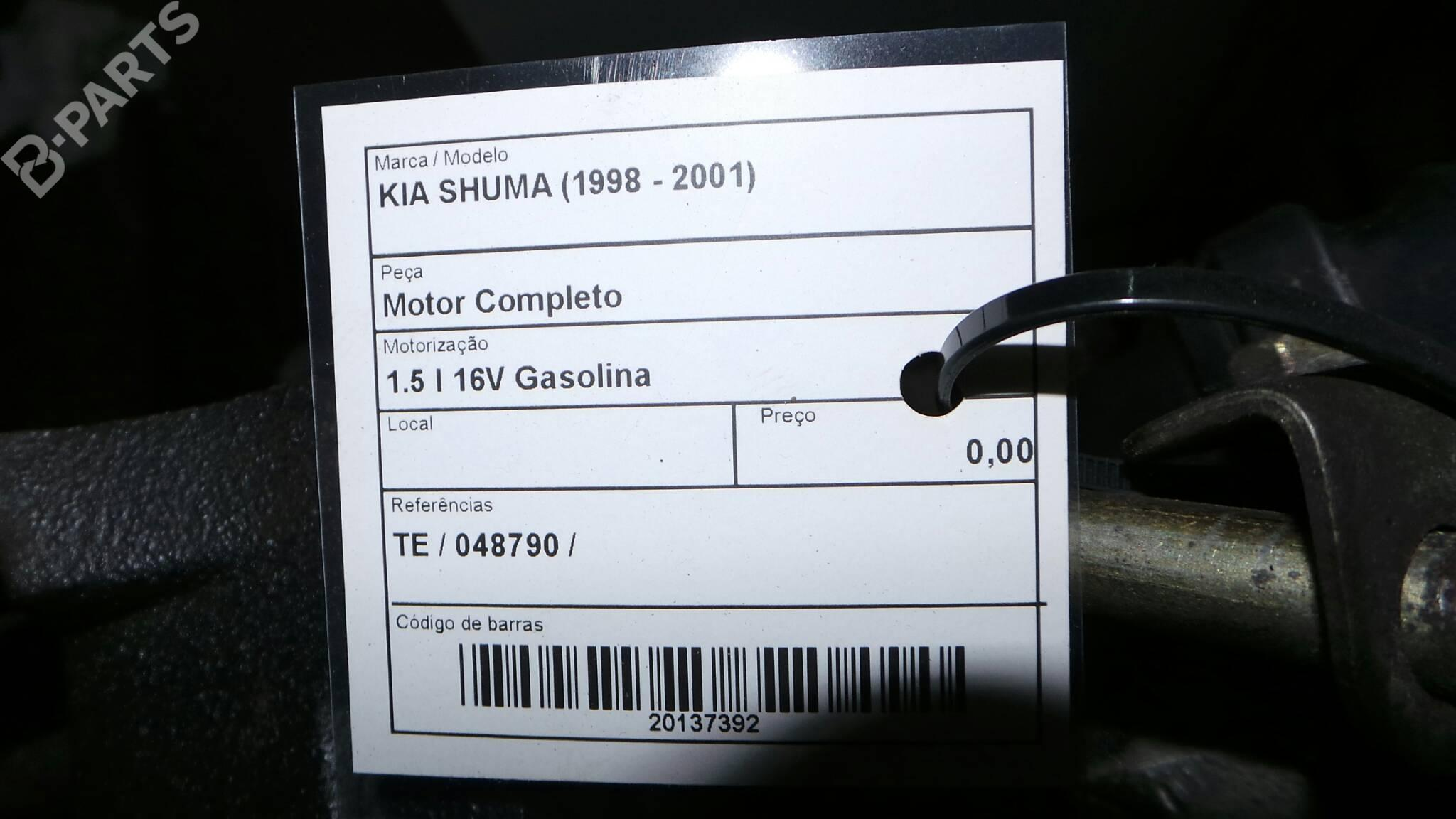 ... Complete TE 048790 KIA, SHUMA (FB) 1.5 i 16V (88hp), ...