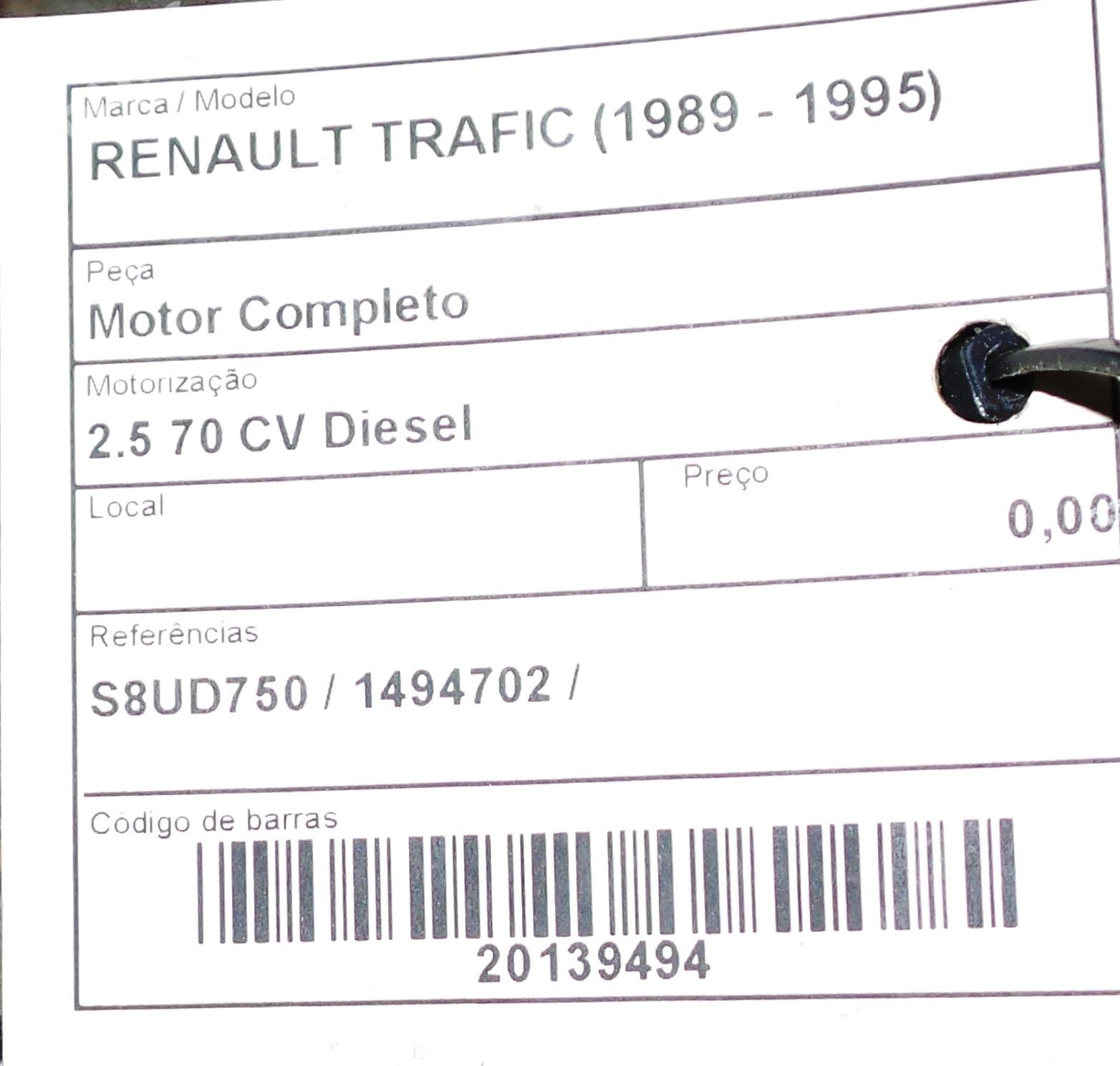Engine Renault Trafic Box Txx 25 D 26078 Fuse On A Master Complete 1494702 D4 Doors