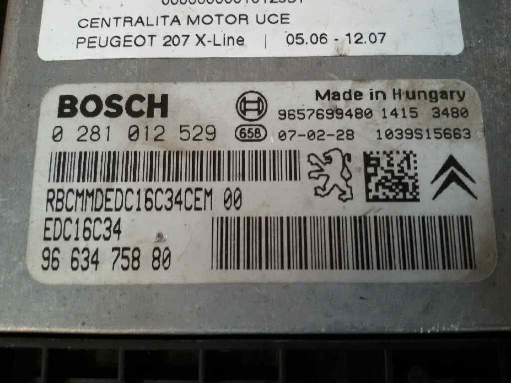 Engine Control Unit Ecu Peugeot 207 Wa Wc 14 Hdi 303752 Fuse Box Water 0281012529 9663475880